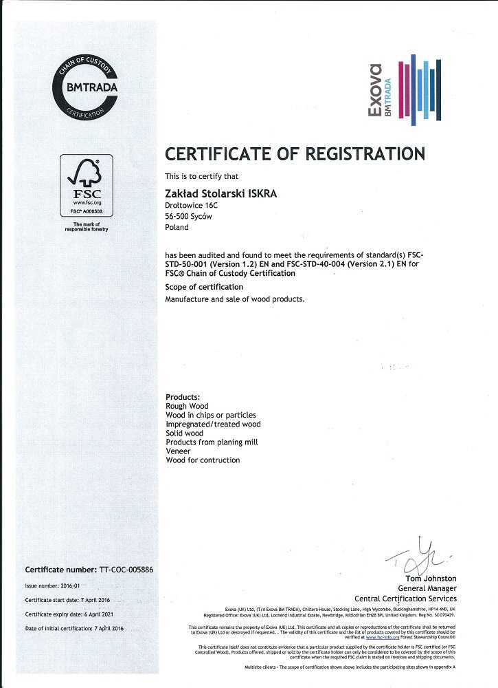 Certificate of registration bmtrada